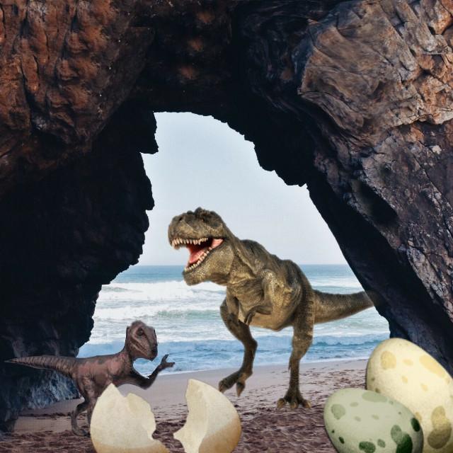#remixoftheday #stickeroftheday  #dinosaurs  #beach #eggs #hatching #remixit