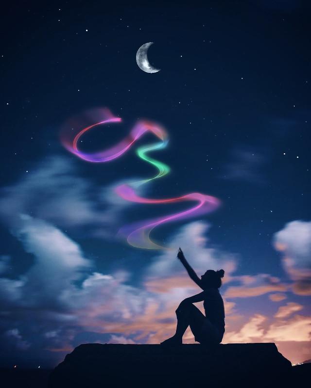 #lighttrails#girl#moon#night#sky#stars