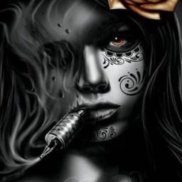 freetoedit tattooed blackandwhite gril photography