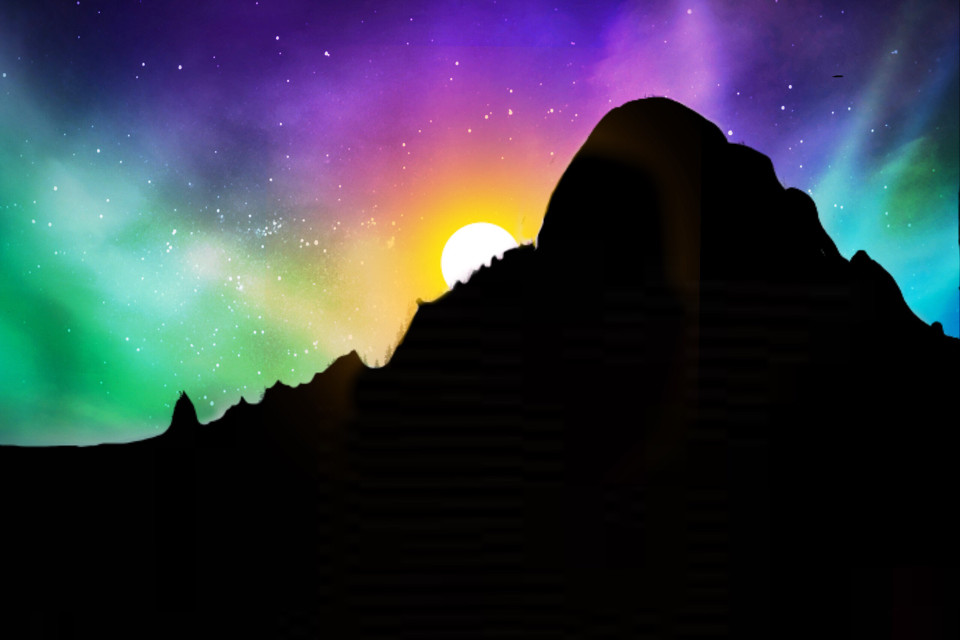 #freetoedit #selfmade #myedit #mountain #sunrise #polarlights #polarlichter #picsart