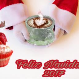 freetoedit santacoffeebreakremix hotchocolate strawberrycupcakesticker feliznavidad2017