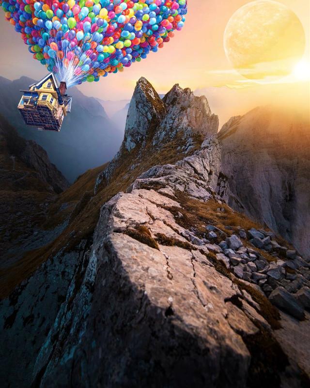 #nature #mountain #photography #sun #planet #light #glare #baloons #house #surreal #surrealism planet :Google