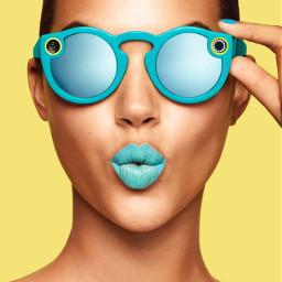 suprised girl turquoise lips sunnies freetoedit