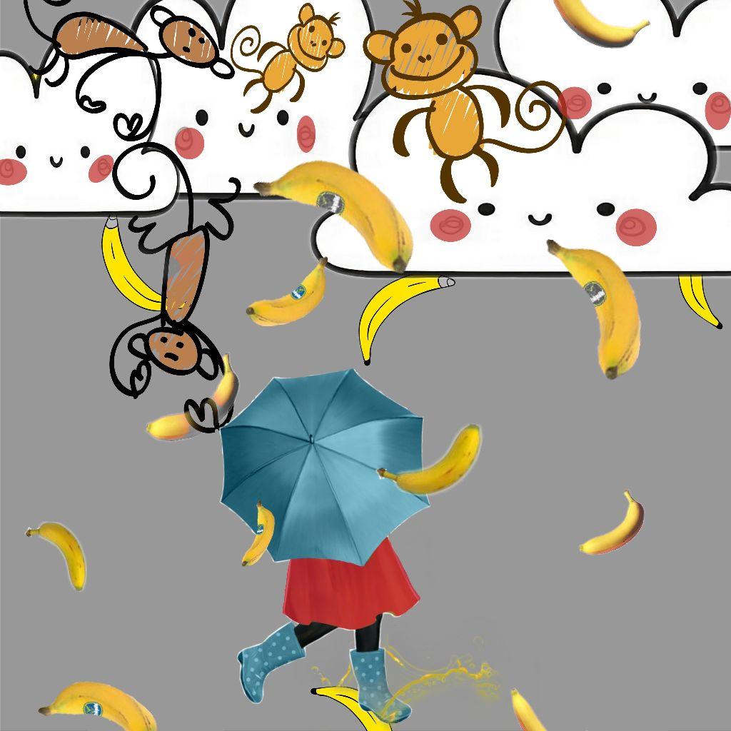 #cutecloudstickerremix #bananas #rain #monkeys