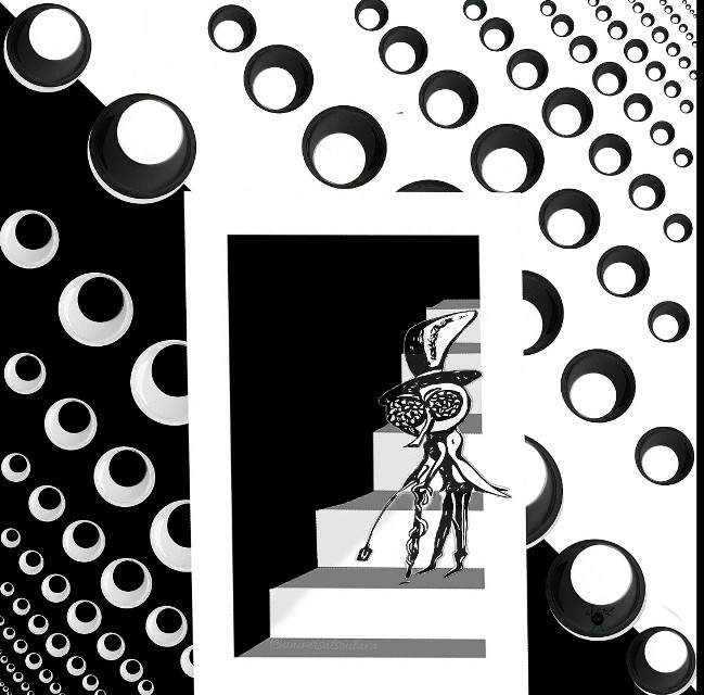 #blackandwhite  #abstract #lifeoffly #eyes #fly #stairs #wallpaper  Thank you @universalsoulava for the #genius custom background and custom stairs sticker! 🍫♥️   Thank you for the fly sticker @drackonholmes  💌