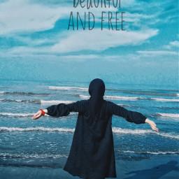 seaside freedom blue muslimgirl caspiansea