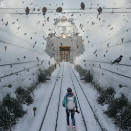 railwaytracks winter train freetoedit