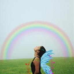 freetoedit rainbow wings fairy fairywings
