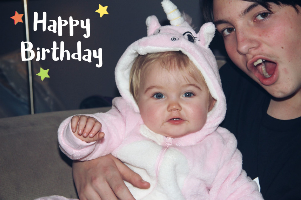 Can't believe my granddaughter is one today happy birthday Scarlett #happybirthday #family #stickers