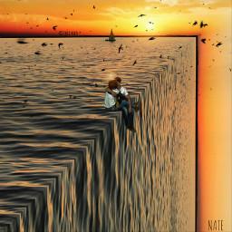 freetoedit foldinglandscape edgeoftheworld sea ocean