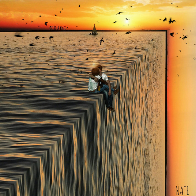 #foldinglandscape #edgeoftheworld #sea #ocean #myedit (OP by Patrick König on Unsplash, people from MrCutout) *not free to edit*