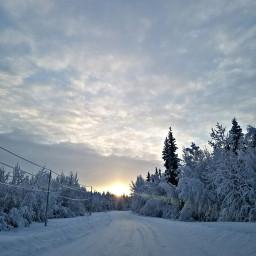 freetoedit roadtrips cold snow sunset