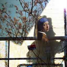 freetoedit girl pearl earring shadow
