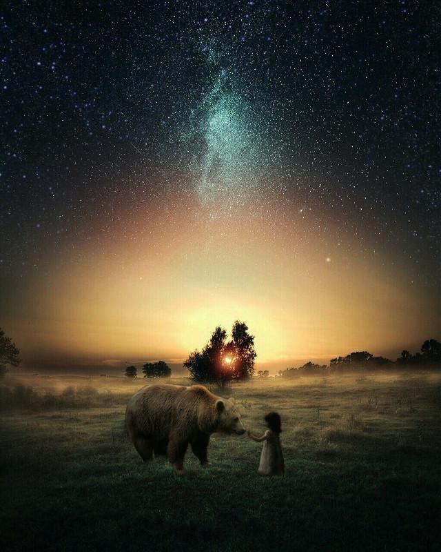 #freetoedit  #bear #child #sunrise #friendship