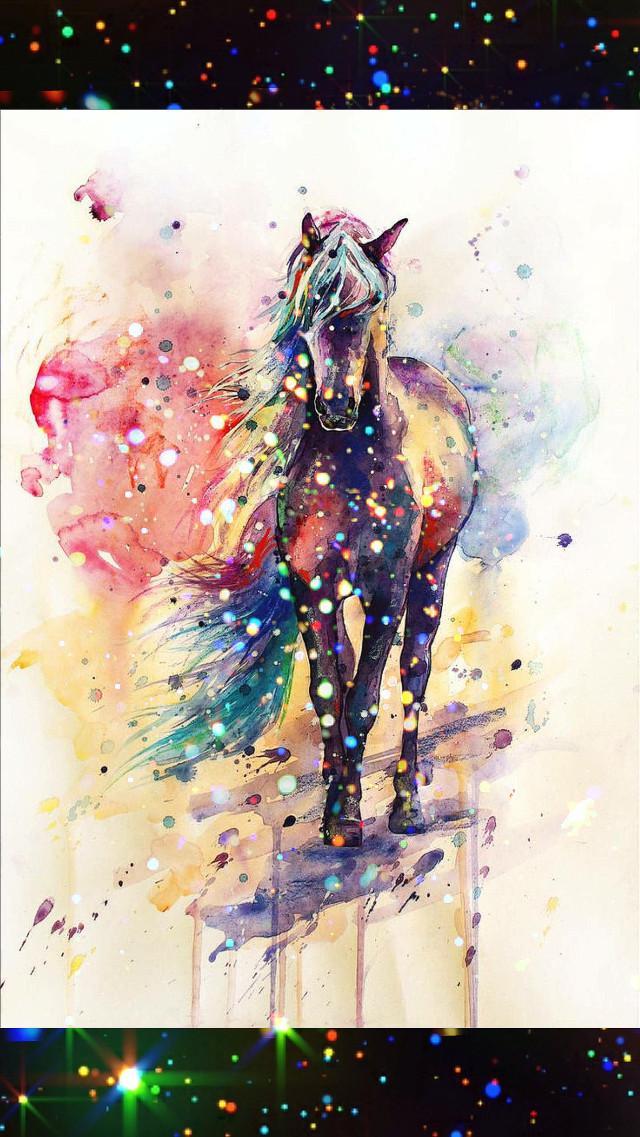 #horse #colorful #rainbowglitter #beautiful #paint #blackandwhite #edited #hdr2effect #sparkling #thebeauty #amazing #layeredphotos #sharpeneffect