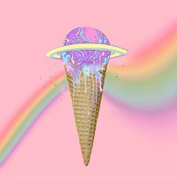 freetoedit icecreamcone rainbow