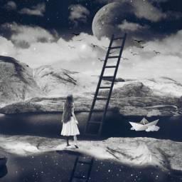 freetoedit wetlandsremix blackandwhite moon upstairs