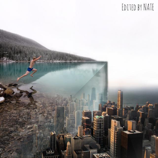 #foldinglandscape #edgeoftheworld #city #water #myedit (Photo of boy by Tyler Lillico, Photo of city by Kevin Young on Unsplash) *not free to edit*