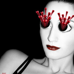 freetoedit hearteyes surreal exaggerated woman