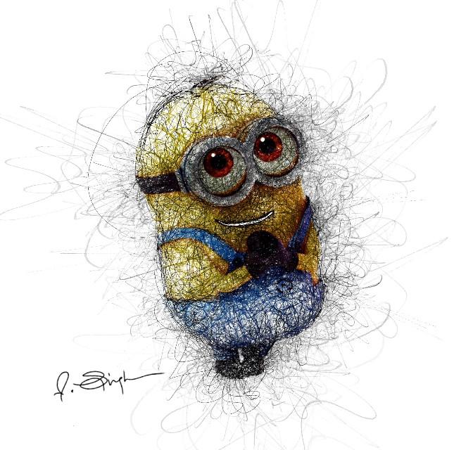 Minion scribble .  #freetoedit #digitalpainting #digitalart #digitalsketch #blackandwhite #doodle #scribble #lines #sketching #sketchbook #artistic #drawing #drawings #art #artist #minions #cute #yellow #lovely