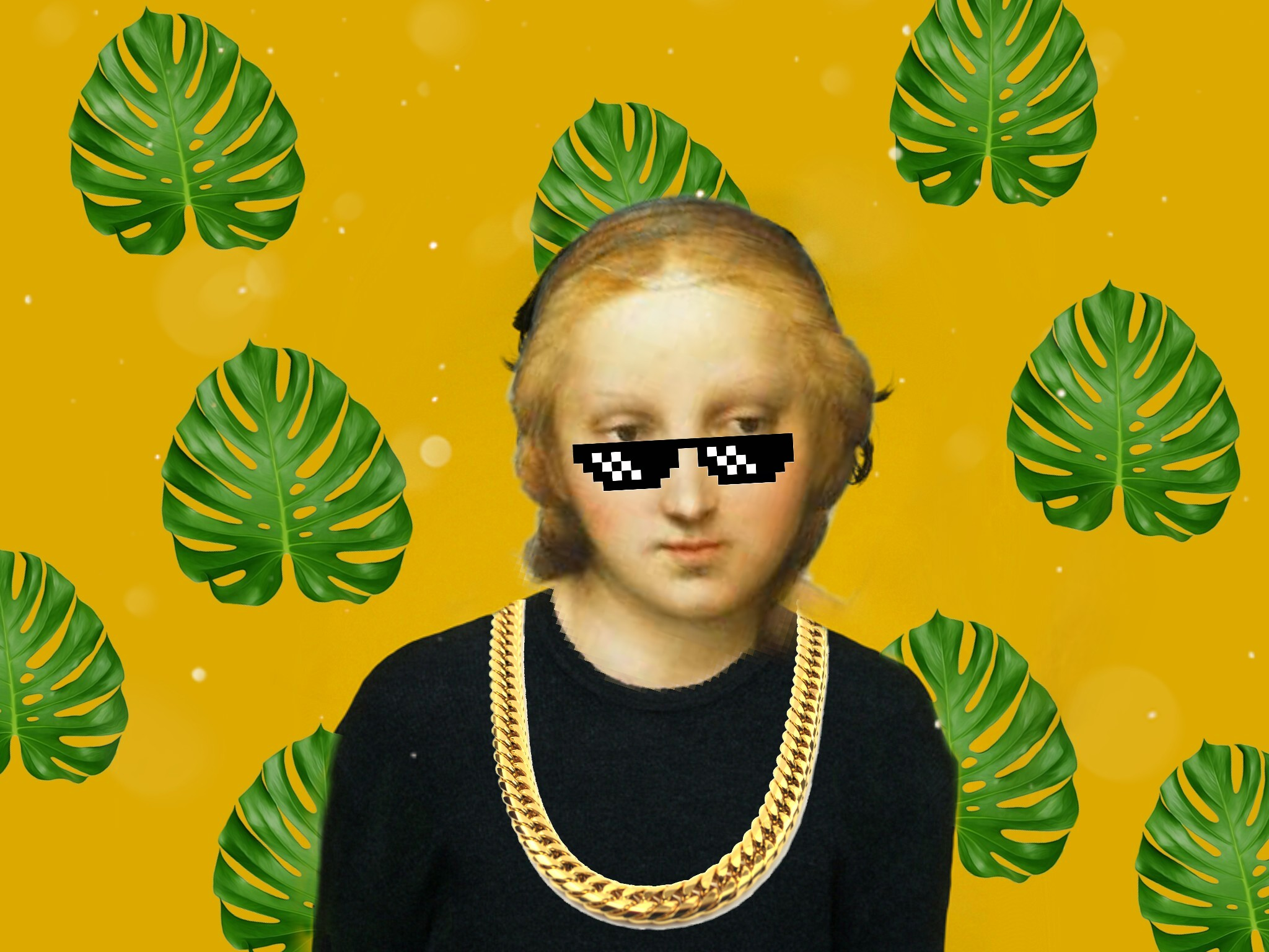 #freetoedit #renaissanceremix #renaissance #girl #gangsta #leaves #sunglasses #glasses #necklace #drawing #classic #thuglife