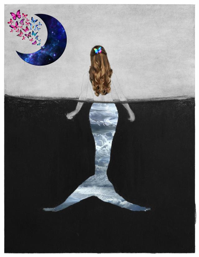 #mermaid #moon #butterfly #sirena #luna #mariposas