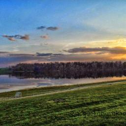 landscape sunset lake reflection belgium freetoedit