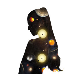 freetoedit girl people galaxy planet silhouette remixit