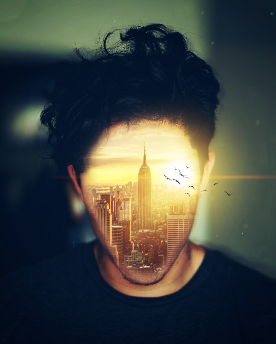 #freetoedit #man #face #doubleexposure #surrealism #city #birds #sun #nature #picsart