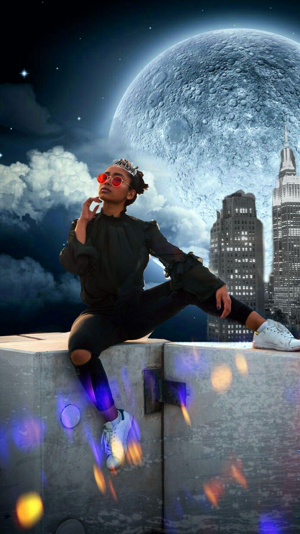 #freetoedit #night #roof #woman #camera #remix