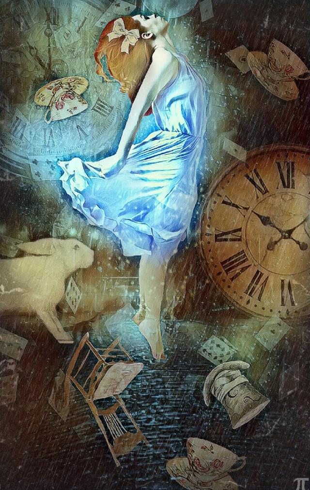 """Wonderland"" Edit by: Parietal Imagination Art    #alice #aliceinwonderland  #freetoedit #wonderland #rabbithole #upsidedown #teacups #chair #rockingchair #whiterabbit #imlate #time #floatingintime #magiceffects #hue #fx #blur #pa #madewithpa #madewithoicsart #picsart"