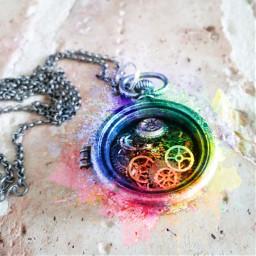 freetoedit necklace gears pocketwatch splatter