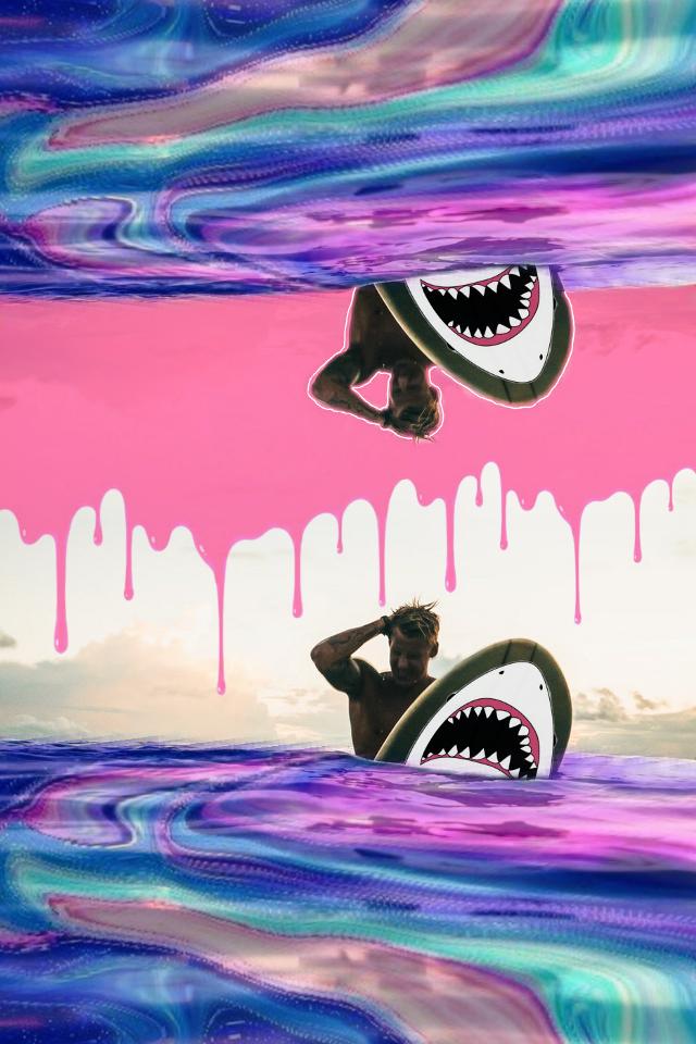 #shark #boy #sea #surfer #sunset #nature