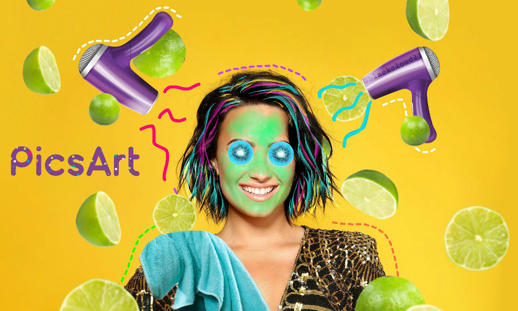 #dottedbrush #myart #madewithpicsart #demilovato  #madebyme #colors #colorful #mask #kiwi #colorfulhair #hairdryer @picsart