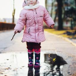 puddle spring rain girl funtime freetoedit