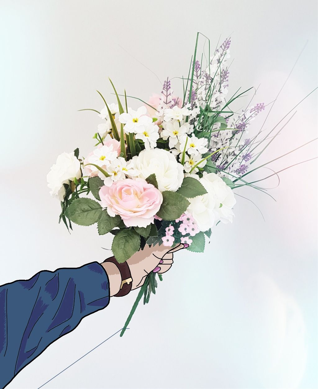 freetoedit flowers bouquet tumblr hand drawing...