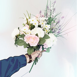 freetoedit flowers bouquet tumblr hand drawing