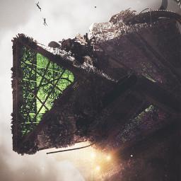 3d render future ship landscape
