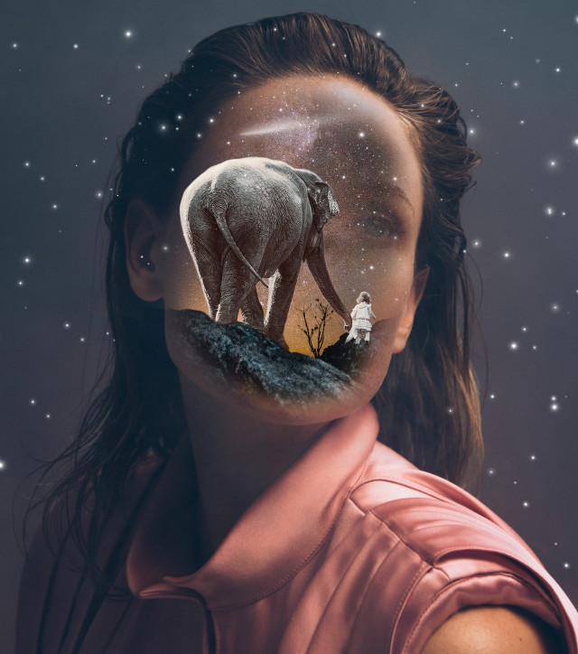#freetoedit #woman #face #doubleexposure #elephant #girl #surrealism #picsart #stars #nature