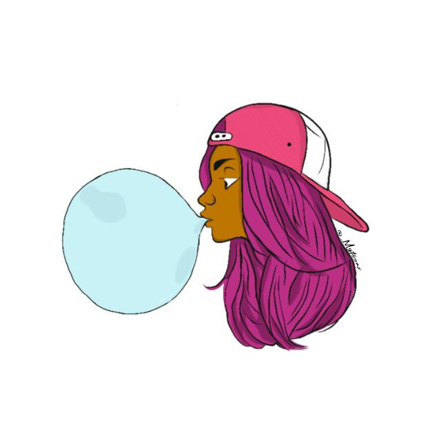 #freetoedit #art #adobe #outline #girl #bubblegum #cap #cute #blackmagic