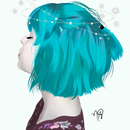 freetoedit girl blue green colorfulhair