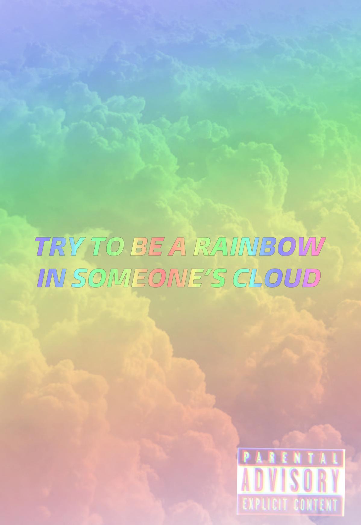 freetoedit aesthetic rainbow quote wallpaper...