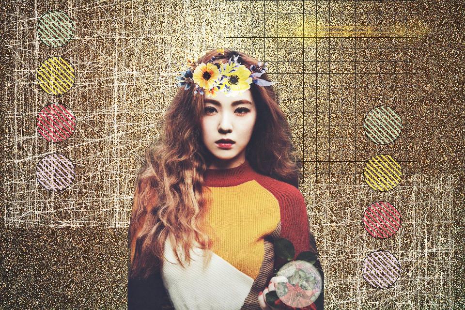 #freetoedit #irene #ireneredvelvet #redvelvet #redvelvetedit #golden #glitter #flower #grid #aestheticcircles #circles