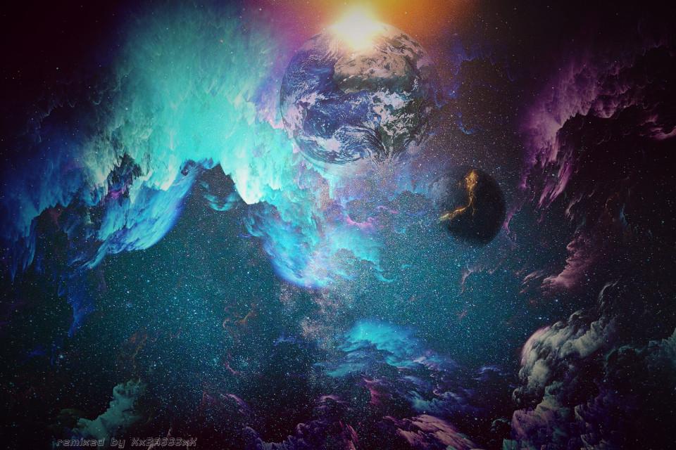 Into The Galaxy - Remix Challenge  #freetoedit #intothegalaxy #remixchallenge #galaxy #planet #earth #stardust