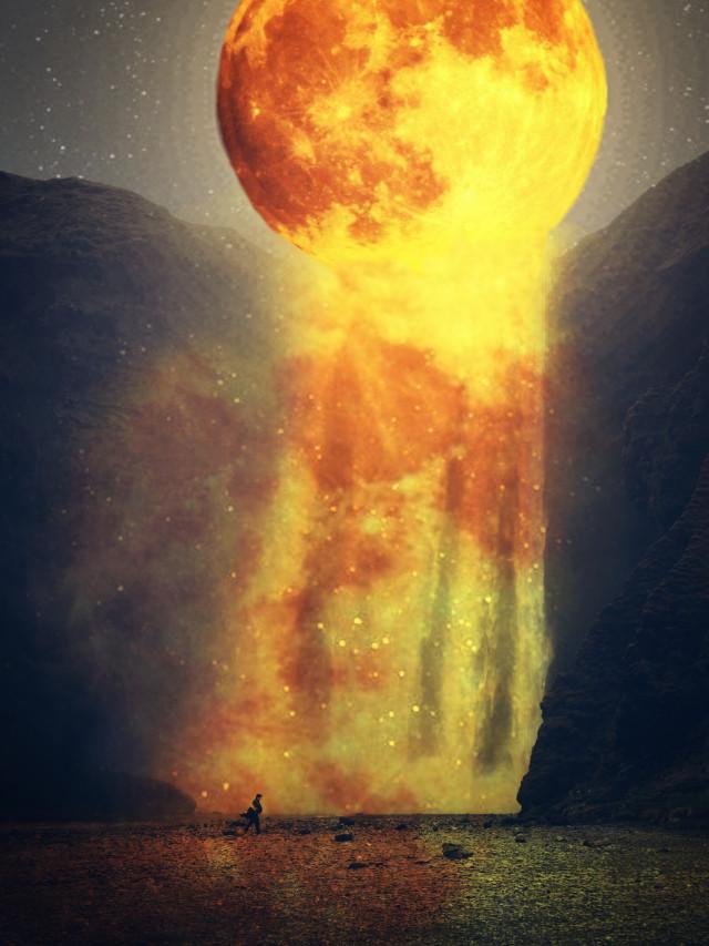 #freetoedit #moon #waterfall #nature #water  Op's from unsplash.