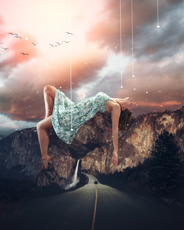 #freetoedit 🌟💕 @pa @freetoedit #myedit #girl #mountains #road #surreal  one of the OPs is from unsplash