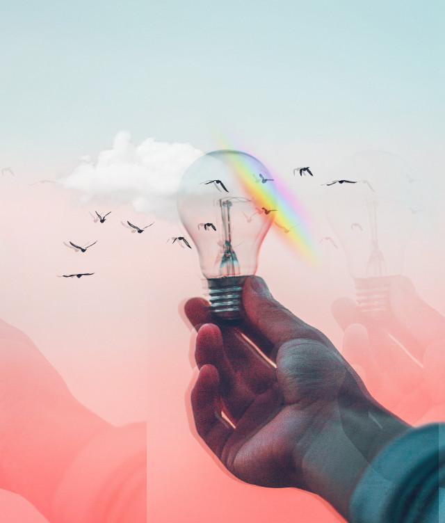 #freetoedit #rainbow #lamp #clouds #popart