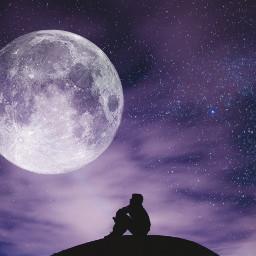 freetoedit doubleexposure moon silhoute figure