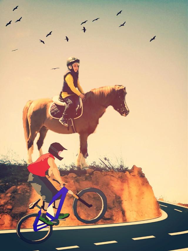 #freetoedit #remix #picsart #madewithpicsart #photography #edit #kids #child #horse #bicycle #people