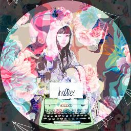 freetoedit flowers girl aesthetic typewriter